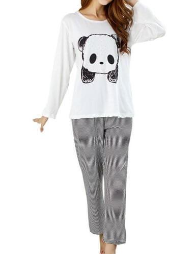 VENTELAN Panda Striped Long Sleeve Sleepwear