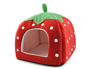 Leegoal Cute Soft Sponge White Dots Strawberry Pet Cat Dog House Bed with Warm Plush Pad(Red)