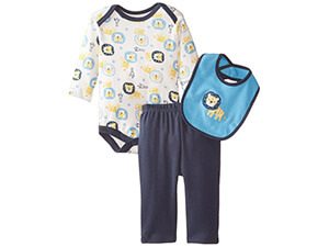 Rene Rofe Baby Baby-Boys Newborn Lion 3 Piece Pant Set With Bodysuit Bib