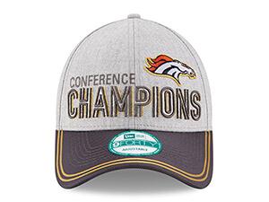 Denver Broncos 2015 AFC Conference Champions Trophy Collection Locker Room 9FORTY Adjustable Hat - Heather Gray/Graphite
