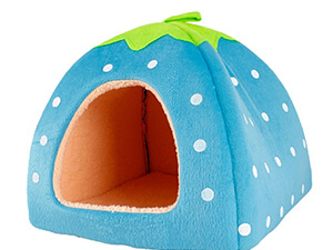 Leegoal Cute Soft Sponge White Dots Strawberry Pet Cat Dog House Bed with Warm Plush Pad(blue)