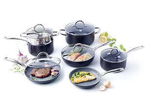 GreenPan Lima 3D I Love Cooking Ceramic Non-Stick 12 Piece Set, Grey