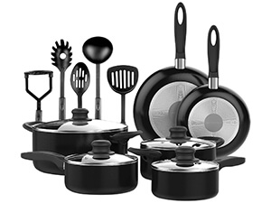 VREMI 15 Piece Non-Stick Black Cookware Set