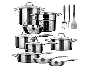 Duxtop Professional Stainless-steel 17-piece Induction Ready Cookware Set With Impact-bonded Technology
