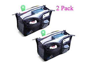 2 Pack Magik Travel Insert Handbag Purse Large Liner Organizer Tidy Bags