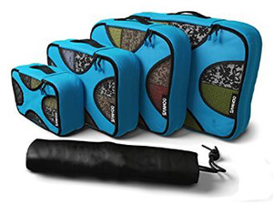 SanHoo Packing Cubes - 4-Piece Set Travel Organizer with Laundry Bag-Aqua Teal Color