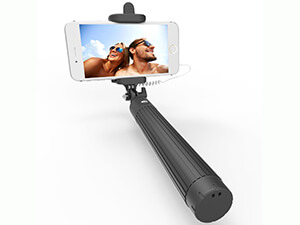 Kiwi Selfie Stick with Built-in Remote Shutter and Adjustable Phone Holder for iPhones