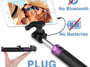 Voxkin Ultra Portable Wired Selfie Stick Compatible with iPhone, Android, and all Smartphones