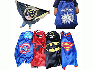 Printed Party Superhero Cape and Mask Dress Up Set Exclusive Drawstring Bag