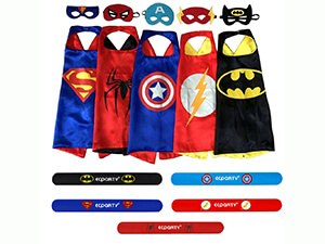 EC Party 5 Different Superheros Cape and Mask Costumes Set Wristbands For Kids