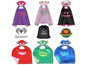 SpiderMarket PJ Masks & Supergirl Cape and Mask Set of 6 Cosplay Kids Costume Party