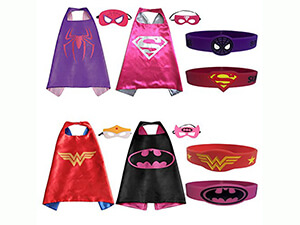 Superhero Costumes ( 4 Satin Capes, 4 Felt Masks , 4 Silicone Bracelet )
