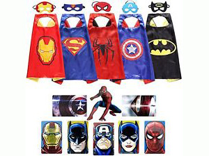 Zeleny Kids Superhero Dress Up Costumes 5 Satin Capes with 5 Felt Masks