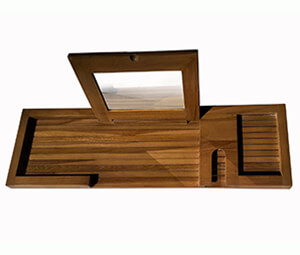 Teak Wood Bathtub Caddy Tray with Folding Mirror, Mold Resistant Bath Tub Tray (30 x 9)