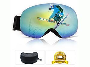 Yibaisite Mirrored OTG Frameless Snowboard Ski Goggles
