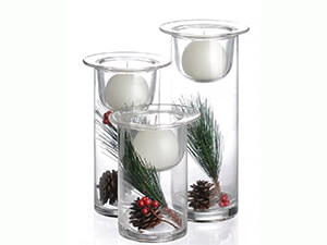 Set of 3 Glass Hurricane Candle Holders