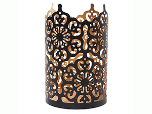 "Hosley's Flower 7"" High Cut Bronze Candle Holder"