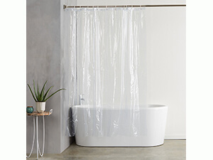 AmazonBasics Heavyweight Clear Shower Curtain Liner with Hooks