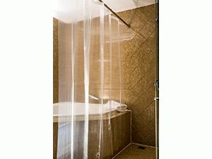 Caitlin White Clear PEVA Shower Curtain Liner