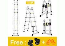 Finether 12.5ft Aluminum Telescopic Extension Ladder