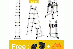 Finether 12.5ft Aluminum Telescopic Extension Ladder
