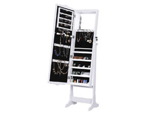 LANGRIA 10 LEDs Jewelry Cabinet Standing Large Mirrored Jewelry Armoire