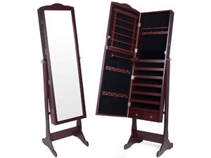 Kendal Standing Lockable Jewelry Cabinet with Cheval Mirror