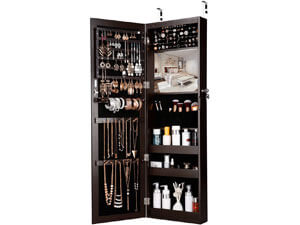 LANGRIA Mirrored Jewelry Armoire with 10 Automatic LED Lights and Full-Length Mirror