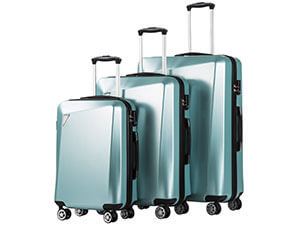 Coolife Luggage 3 Piece Sets PC+ABS Spinner Suitcase