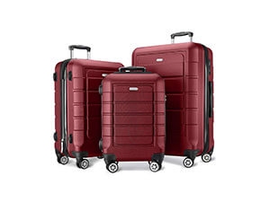 SHOWKOO Luggage Sets Expandable PC+ABS Durable Suitcase