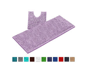 LuxUrux Bathroom Rugs Luxury Chenille 2-Piece Bath Mat Set