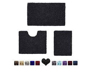 HOMEIDEAS 3 Pieces Bathroom Rugs Set Black