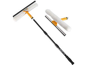"Multi-Use Window Squeegee with 15""Scrubber,40'' Fiberglass Telescopic Pole"