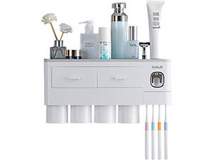 EMAPRUI Toothbrush Holder Multifunctional Wall Mounted Space Saving Toothbrush